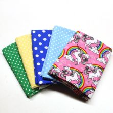 Pack of 5 100% Cotton Little Pink Unicorn Print with 4 Fat Quarters
